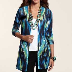 CHICO'S Blurred Brushstrokes Bayleigh Open Front